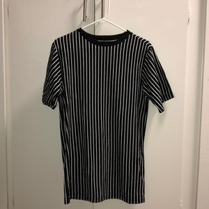 Black and white striped tee.